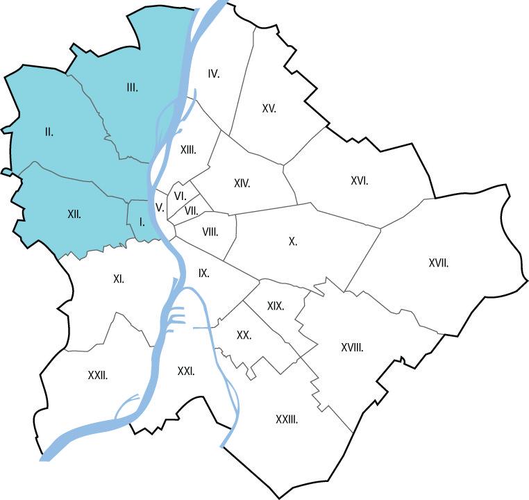Autóbérlés Budapest  I., II., III., XII. kerület